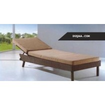 Wicker Brown Pool Side Lounger With Cushion