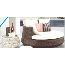 Wicker  Brown Pool Side Lounger With Side Table
