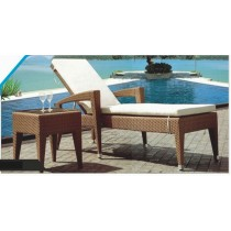 Wicker Brown Pool Side Lounger With Table(Size 18'' X 18'' )