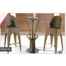 Wicker Brown Rattan Bar Stool & Bar Table(2 + 1 Set)