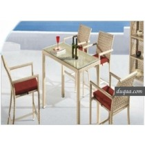 Wicker Brown Rattan Bar Stool & Bar Table(4+ 1 Set )