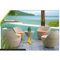 Wicker Champagne 4 Seater Dinning Set