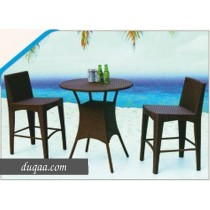 Wicker Coffee Rattan Bar Table & Chair(2 +1 Set)