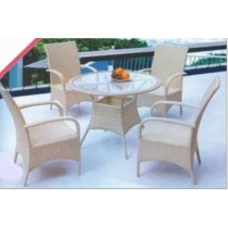 Wicker Cream Arm Rattan 4 Chair & Table Dinning Set