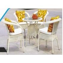 Wicker Cream Garden Outdoor Dinning Set(4 Chair + 1 Table)