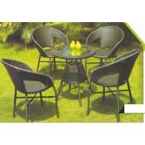 Wicker Dark Coffee Outdoor Garden Dinning Set
