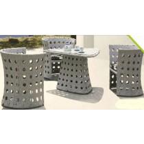 Wicker Gray Cutout Design Garden Rattan Dinning Set(4+1 Set)