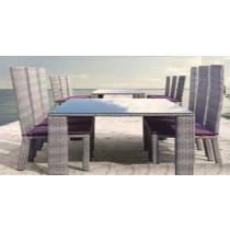 Wicker  Light Purple Garden Rattan Dinning Set(4 Chair + 1 Table)