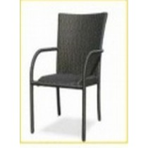 Wicker Matte Black Rattan Restaurant Chair