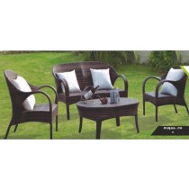 Wicker Shaded Rattan Garden Full Sofa Set With Cushion