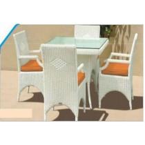 Wicker White Modern Style Garden Dinning Set(4 Chair + 1 Table)