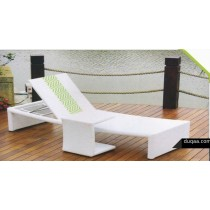 Wicker White Wave Design  Pool Side Lounger With table
