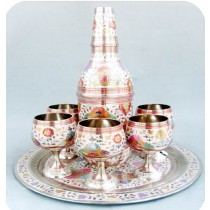 Wine Set With Goblets & Bottle, 12 Inches