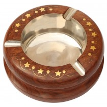 Wooden Ash Tray With 3 Cigarette Holder Slots