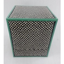 Wooden Black With Green Finish Stool