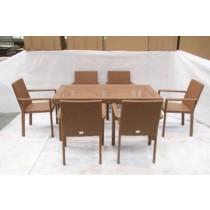 Wooden Brown Garden PE Rattan Chair & Table Set