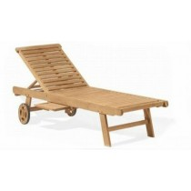 Wooden Brown Pool Side Wooden Lounger