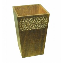 Wooden Burnt Finish Waste Bin
