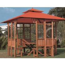 Wooden Gazebo With The Tent(Size 300 X 300 Cm)