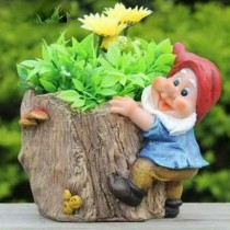 Wooden Type Flower Planter with Gnome