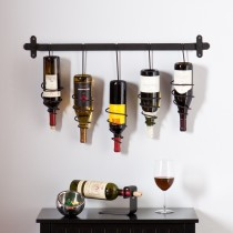 Wrought Iron 5 Bottle Wall Mount Wine Rack