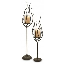 Wrought Iron Clear Glass Candle Holder
