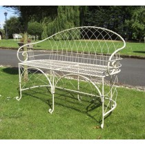 Wrought Iron Cream Finish Garden Bench