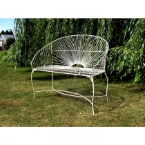 Wrought Iron Cream Paint Finish Garden Bench