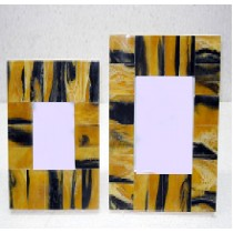 Yellow and black strips design Photo frame4 x 4""