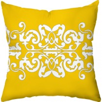 Yellow Color Graphic Print Square Cushion