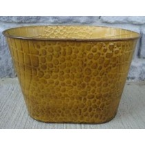 Metal Yellow Color 9 Inch Oval Flower Pot