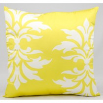 Yellow Double Damask Pattern Cushion