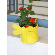 Yellow Dragonfly Galvanized Railing Metal Planter