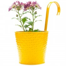 Yellow Galvanized Metal Railing Hook Planter