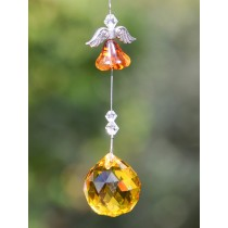 Yellow Flower Angel Crystal Hanging Sun Catcher