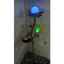 Yellow Glass Flower Shape Blue LED Iron Solar