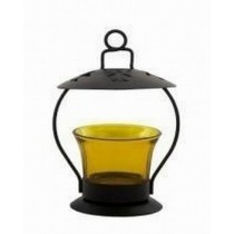 Yellow Glass Hanging Metal Votive Candle Holder
