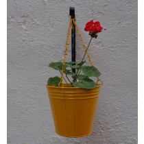 Yellow Hanging Bucket Planter