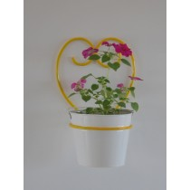Yellow Happy Heart Wall Pot Holder With White Pot