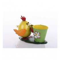 Yellow Hen With Green Decorative Metal Pot