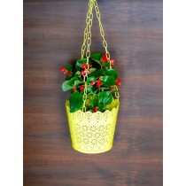 Yellow Lace Pattern Hanging Planter