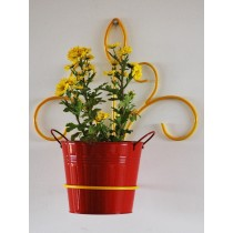 Yellow Lotus Wall Pot Holder With Red Planter