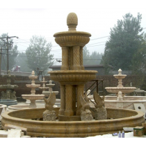 Yellow Marble Hand Curved Birds Fountain