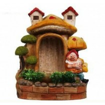 Yellow Mushroom House & Gnome Garden Sculpture
