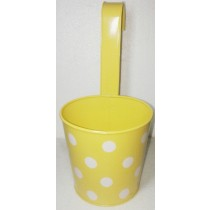Yellow Polka Dot Design Round Metal Pot With Handle