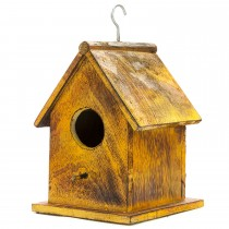 Yellow Rustic  Wooden Hanging  Bird House