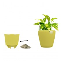 Yellow Self Watering Plastic planter