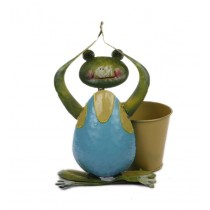 Yoga Frog With 6 Inch Round Yellow Metal Pot
