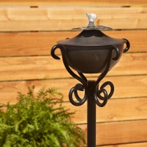 Zinc Garden Torch With Scroll Floor Stand