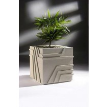 Grey White 24 Inch Square Fiberglass Planter